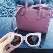 sunglasses,kylie jenner,instagram,purse,pink,bag,pink bag,dusty pink,pink sunglasses,cat eye,designer bag,saint laurent