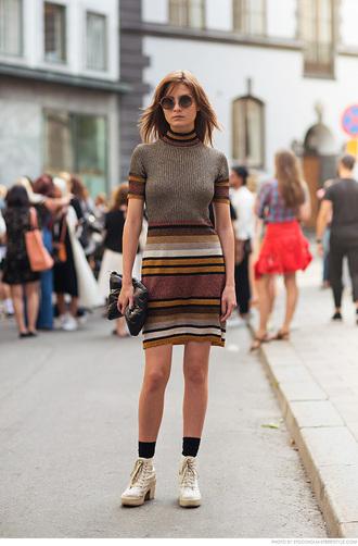 carolines mode blogger dress knitted dress striped dress fall dress
