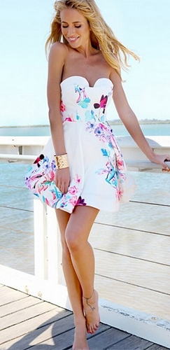 White blue pink floral dress