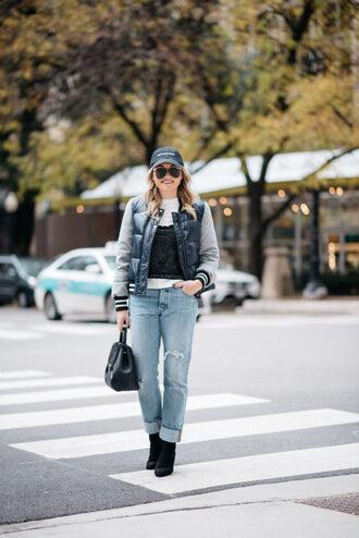 bows&sequins blogger jacket t-shirt jeans shoes bag hat fall outfits cap handbag boots