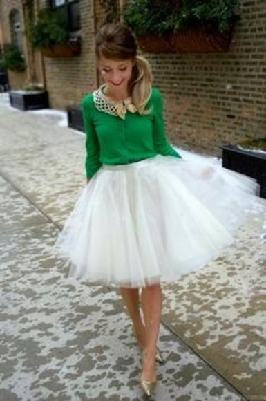 green blouse green skirt tulle skirt