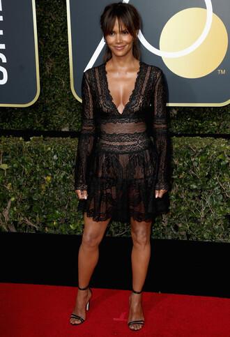 dress lace dress black dress black lace dress halle berry golden globes 2018 mini dress plunge dress plunge neckline