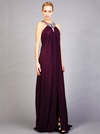 Shopping  Column Dark Purple Round Neck Crossing Back Long Prom Dress :  formal dresses, special occasion dresses