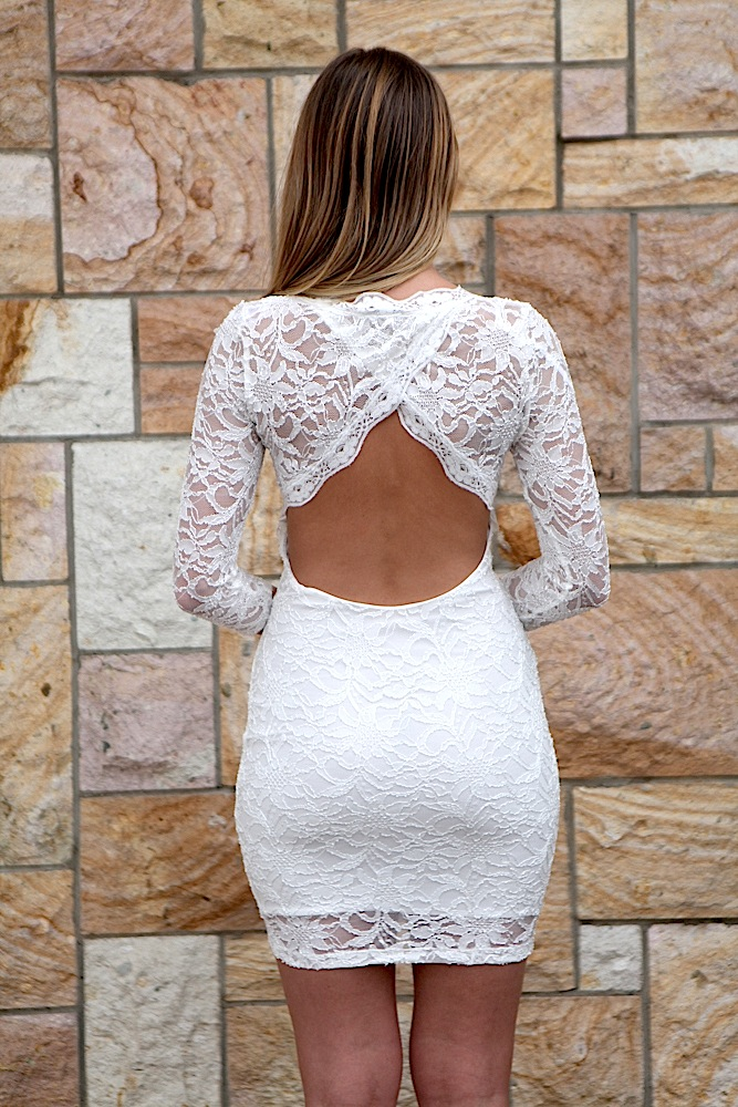 Cocktail Dress - White Lace Open Back 3/4 | UsTrendy