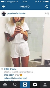 shirt,white,combishort,shorts,hair accessory,dress,t-shirt,jumpsuit,sunglasses