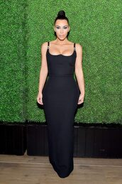 dress,black dress,maxi dress,bustier,bustier dress,kim kardashian,kardashians,bodycon dress