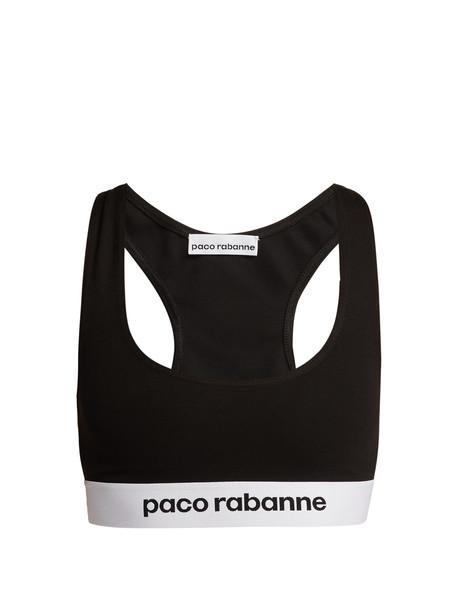 PACO RABANNE Logo-jacquard sports bra in black