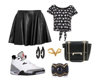 top shirt skirt jordan's shoe shoes style fashion bag jewels