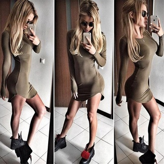 dress green bodycon dress trendy sexy fashion style casual basic long sleeves fall outfits musheng
