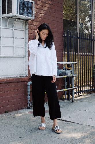 shirt tumblr white shirt pants black pants culottes shoes slide shoes