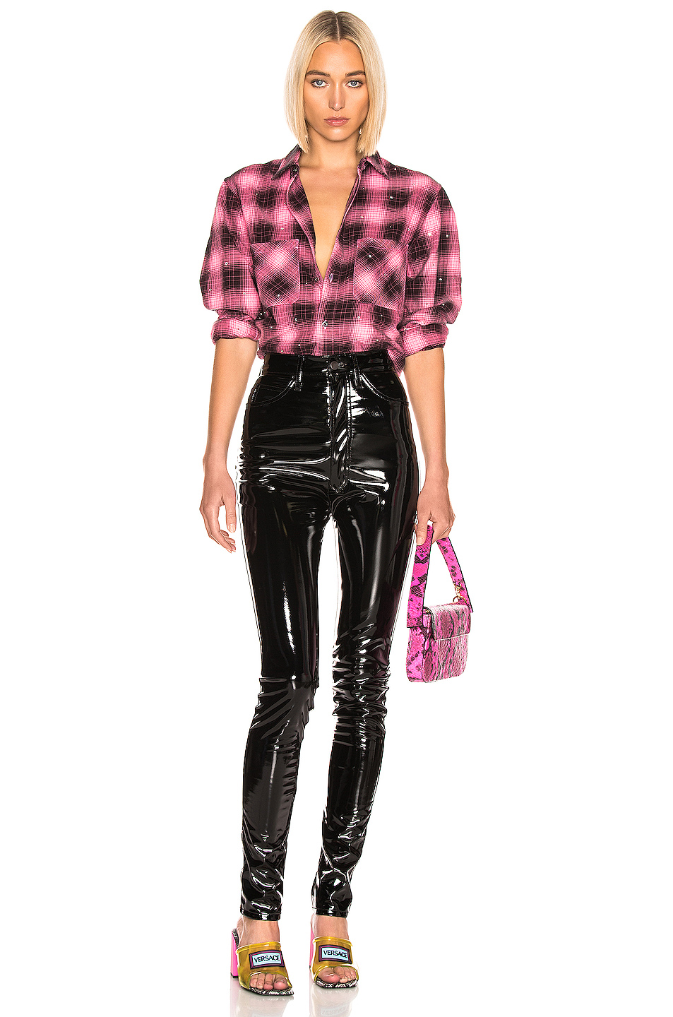 Amiri Studded Plaid Shirt in Neon Pink | FWRD