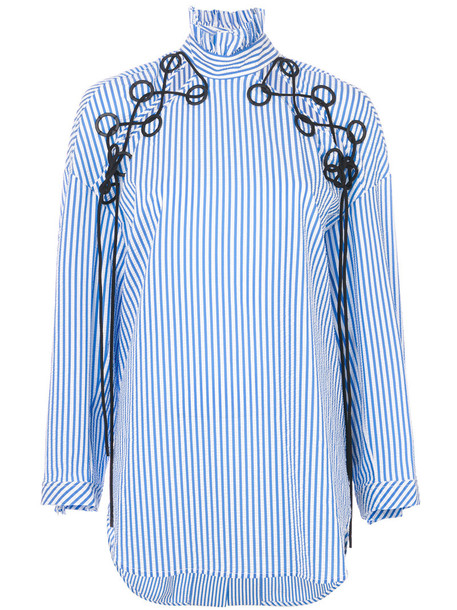 ellery shirt embroidered women spandex cotton blue top