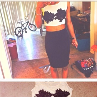 top crop tops midi skirt black and white