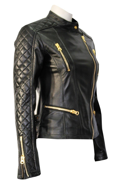 Ladies tr black biker gold zip quilted designer genuine soft real leather jacket (uk 14/us 10) at amazon women's coats shop