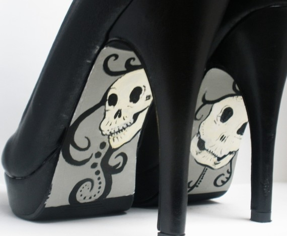 Hand painted high heels customizable wicked style by shadowempress