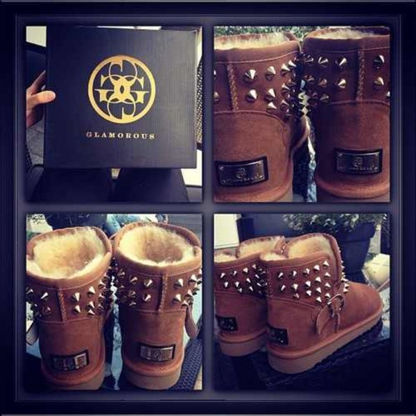 shoes ugg boots rivet boots ugg boots ugg boots brown boots brown gold glamour fur fur inside rivet shoes boots rivet glamorous shoes