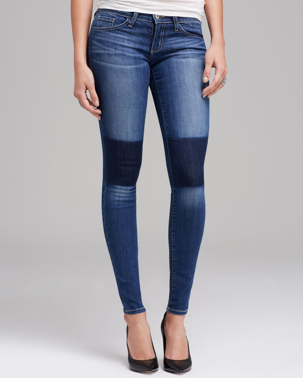 Flying Monkey Jeans - Washed Knee Patched Skinny in Medium Blue | Bloomingdale's