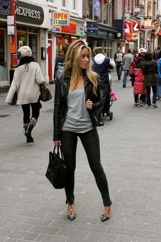a fashion love affair tank top jacket jeans shoes bag black leather jacket
