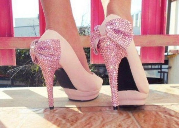 shorts heels pumps pink high heels bows glitter shoes