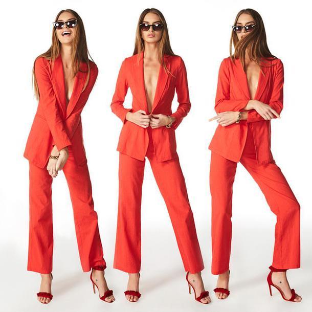 blazer red blazer pants red pants jacket