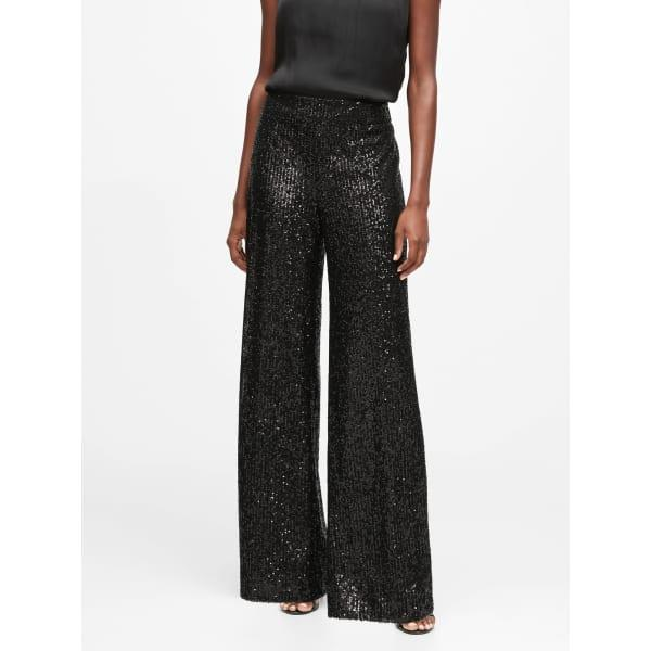 Banana Republic Women's High-Rise Wide-Leg Sequin Pant Black Sequin Regular Size S