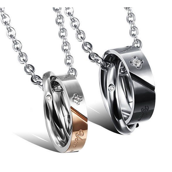 Engravable matching promise couples jewelry set for 2 for Couples matching jewelry sets