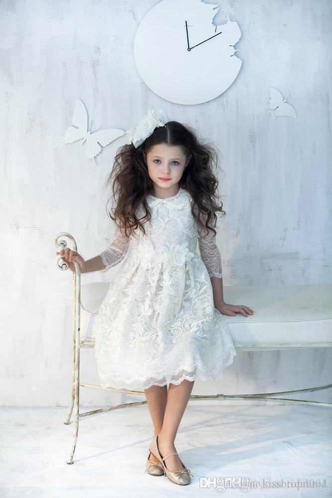 Cheap Flower Girl Dreses Discount 2015 Lace Flower Girls Dresses
