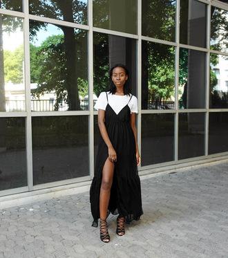 sylvie mus blogger shirt dress dress over t-shirt t-shirt white t-shirt slip dress slit dress black maxi dress maxi dress sandals sandal heels high heel sandals black sandals lace up sandals