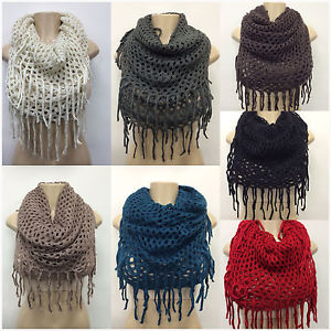 New Womens Knitted Crochet Circle Infinity Tube Scarf Tones Wrap 2in1 7 Colors | eBay