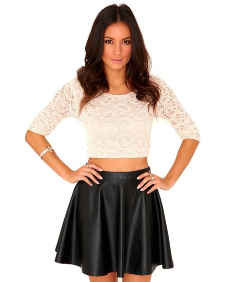 top long sleeved lace crop top shirt skirt