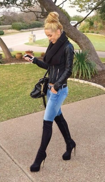 Coat Fashion Jeans Over The Knee Socks High Heels Style Scarf Shoes Leather Jacket