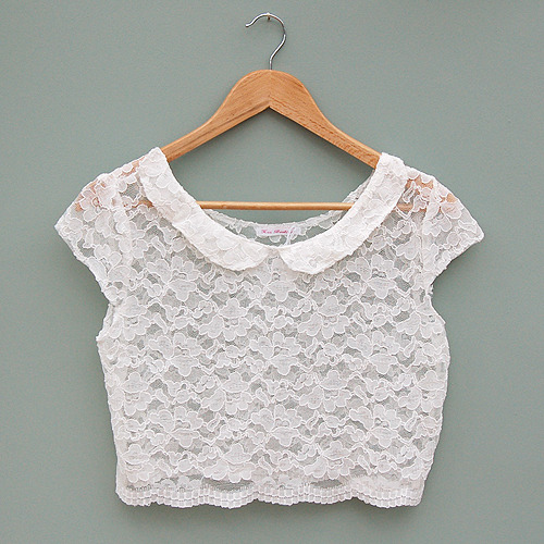 Cap sleeve lace peter pan collar crop top by kee boutique