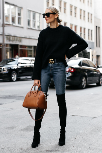 fashionjackson blogger sweater shoes belt bag sunglasses fall outfits gucci bag black sweater handbag boots over the knee boots givenchy bag