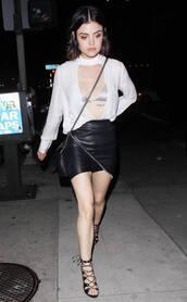 skirt,blouse,sandals,sandal heels,lucy hale,mini skirt,bralette,bra,plunge neckline,underwear