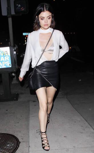 skirt blouse sandals sandal heels lucy hale mini skirt bralette bra plunge neckline underwear