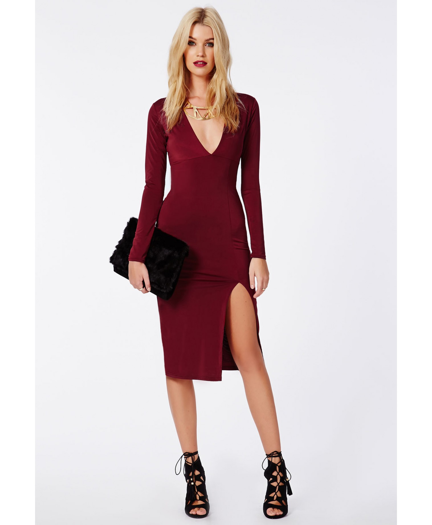 Chelsi side split slinky midi dress burgundy