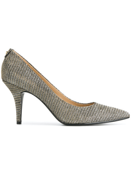 MICHAEL Michael Kors pointed toe pumps women pumps leather grey metallic shoes