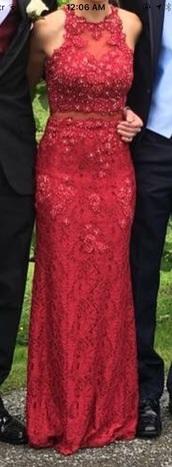 dress,prom dress,long prom dress,red lace prom dress,illusion prom dress,lace prom dresses,bodycon prom dress,graduation dress