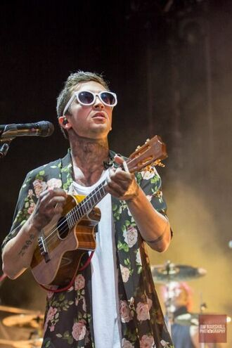 shirt tyler joseph celebrity singer sunglasses white sunglasses mens t-shirt mens shirt floral shirt