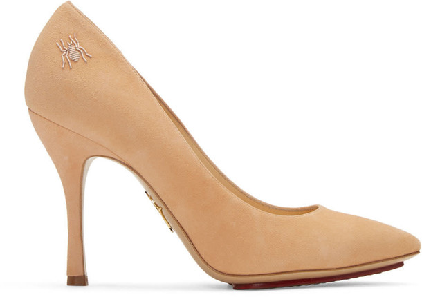 charlotte olympia heels suede pink shoes