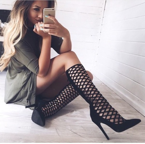 shoes caged caged boots black black boots high heels boots