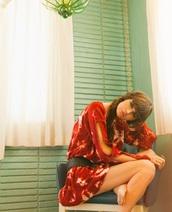 dress,boho,boho dress,bohemian,tie dye,red dress,orange dress,cut-out dress,cut-out