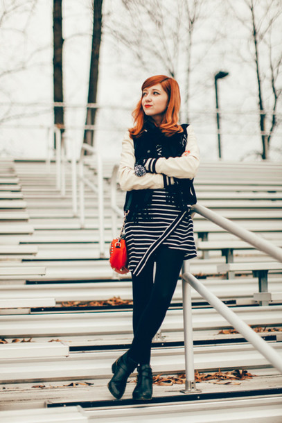 the clothes blogger red bag striped dress baseball jacket jacket scarf dress tights shoes bag gloves