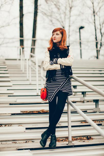 the clothes blogger red bag striped dress baseball jacket jacket scarf dress tights shoes bag gloves