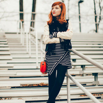 scarf bag shoes jacket dress tights blogger red bag gloves the clothes striped dress baseball jacket scarf red