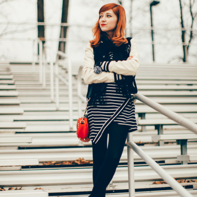 scarf jacket shoes bag dress tights blogger red bag the clothes striped dress baseball jacket gloves scarf red