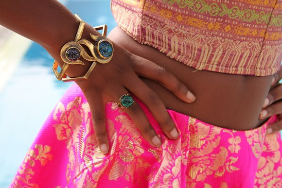skirt top gold bangles ring jewels jewelry gypsy boho milk the goat gold plated aztec batik shiny chic