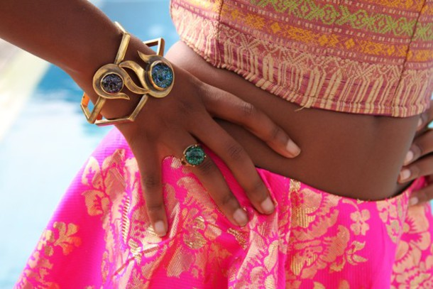 jewels jewelry bangle ring gold plated gypsy gold skirt top aztec batik shiny chic boho milk the goat