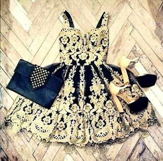 dress clothes gold black purse details ornaments short dress beautiful classy elegant prom dress perfect ootd high heels