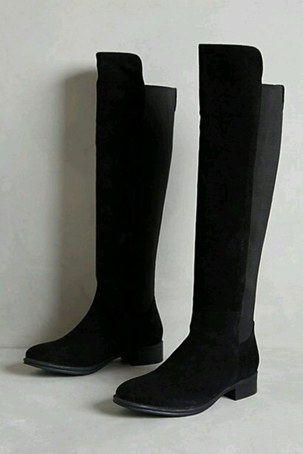 Black stretch back chain trim riding boots